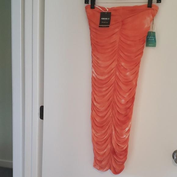 Forever 21 Dresses & Skirts - Orange tie dye tube dress